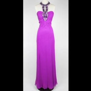 Jovani Purple silk halter jeweled formal dress